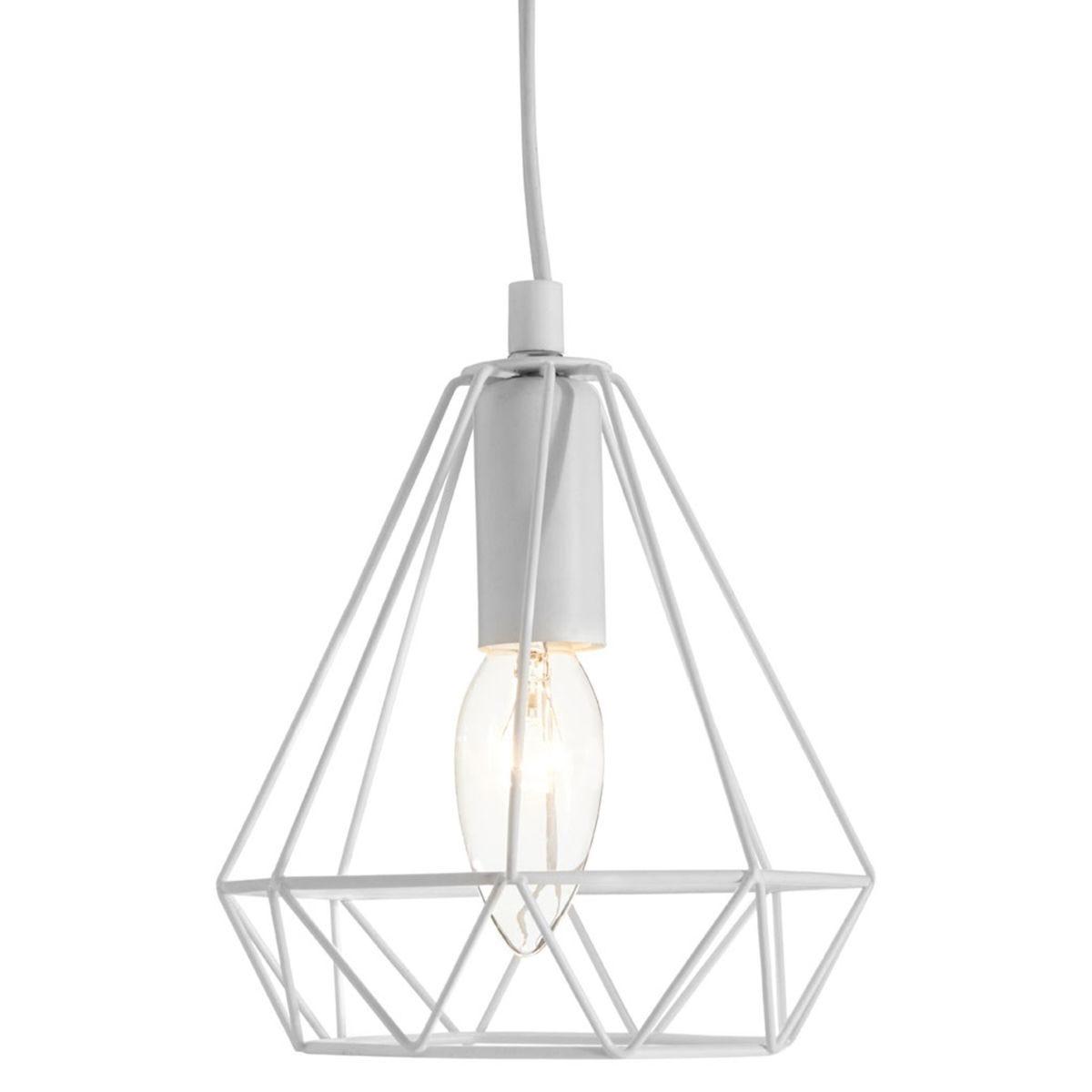 Premier Housewares Beli Pendant with Light Metal Wire - White