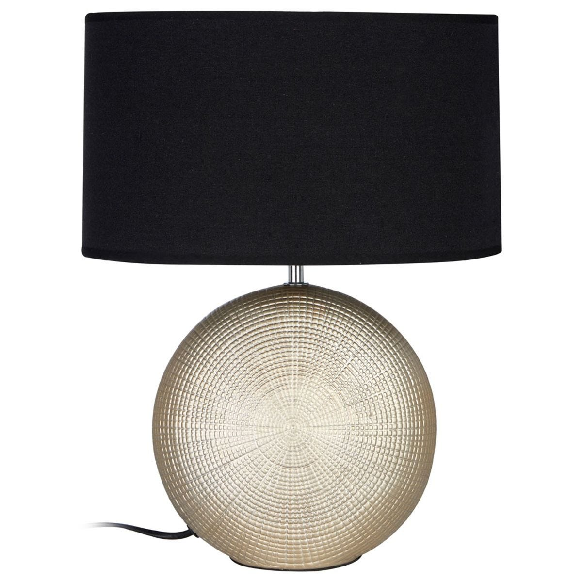 Premier Housewares Whisper Table Lamp in Gold Ceramic with Black Fabric Shade