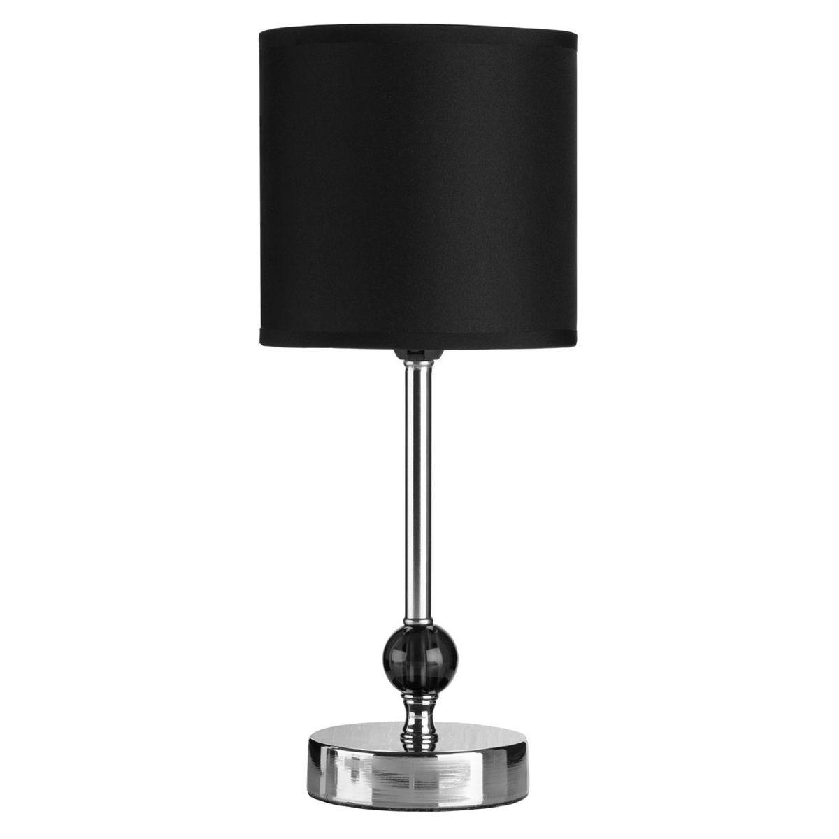 Premier Housewares Chrome Table Lamp with Black Acrylic Ball & Black Shade