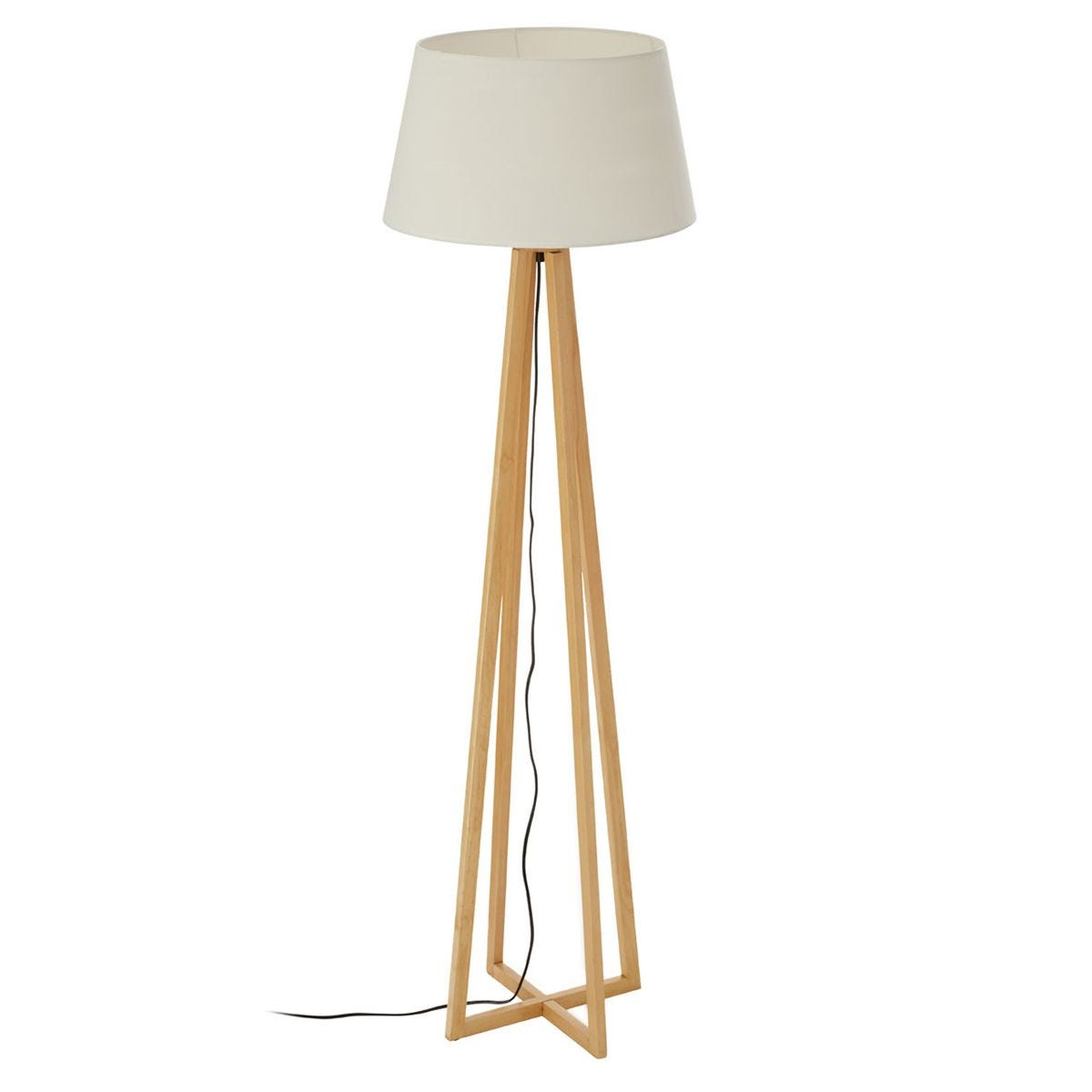 Premier Housewares Breton Wooden Floor Lamp with Fabric Shade