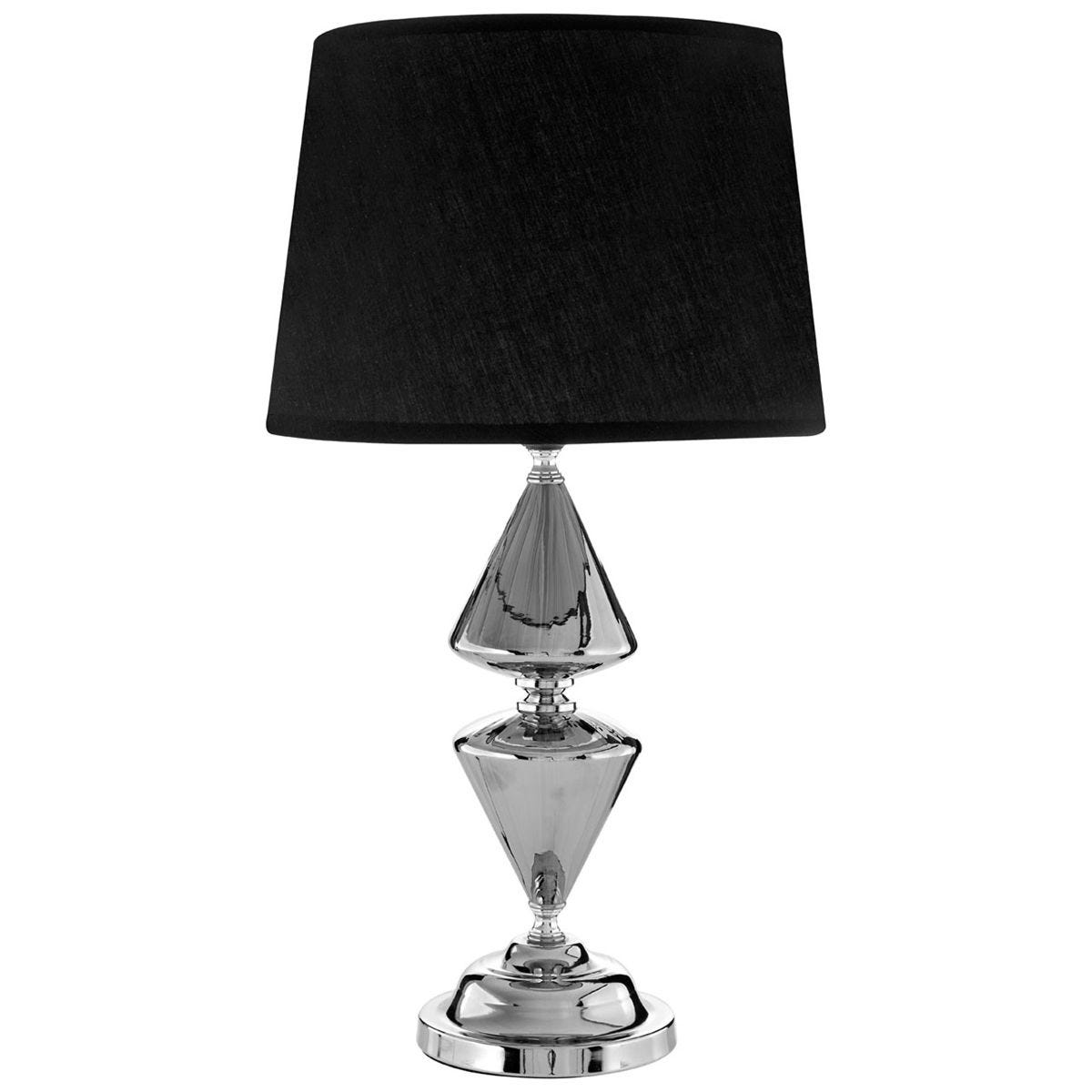 Premier Housewares Honor Glass & Metal Silver Table Lamp (52cm) with Black Shade