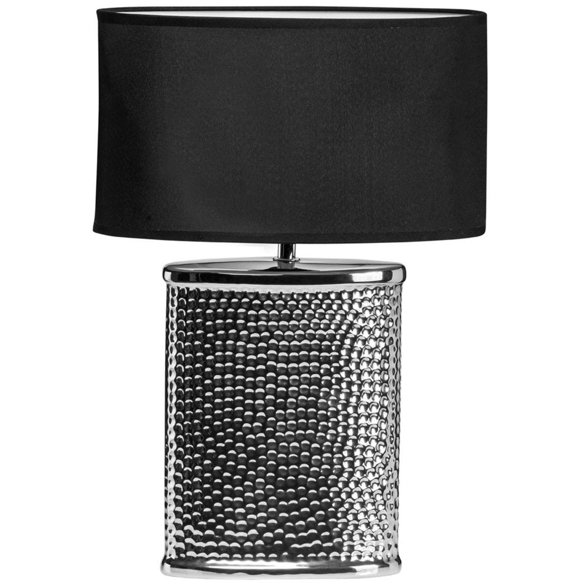 Premier Housewares Regents Park Table Lamp in Hammered Chrome Effect Finish with Ceramic Base