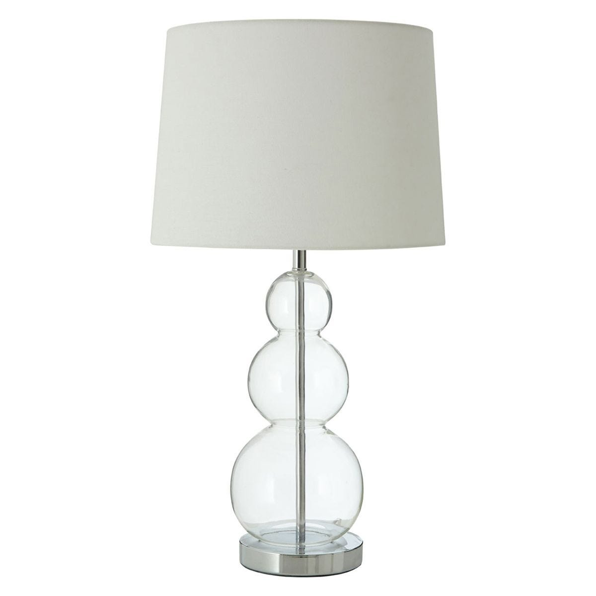 Premier Housewares Luke Table Lamp with Glass Ball, Metal & Fabric Shade