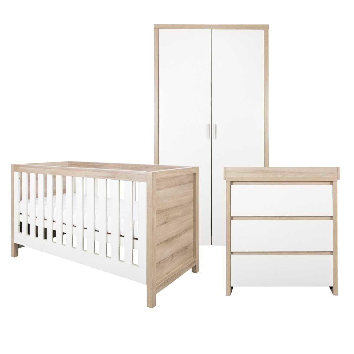 Tutti Bambini Modena 3 Piece Room Set – White and Oak