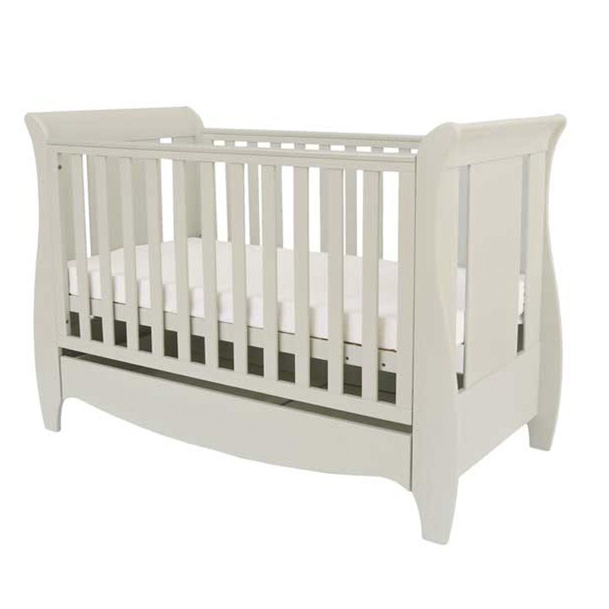 Tutti Bambini Roma Mini Sleigh Cot Bed with Drawer - Linen