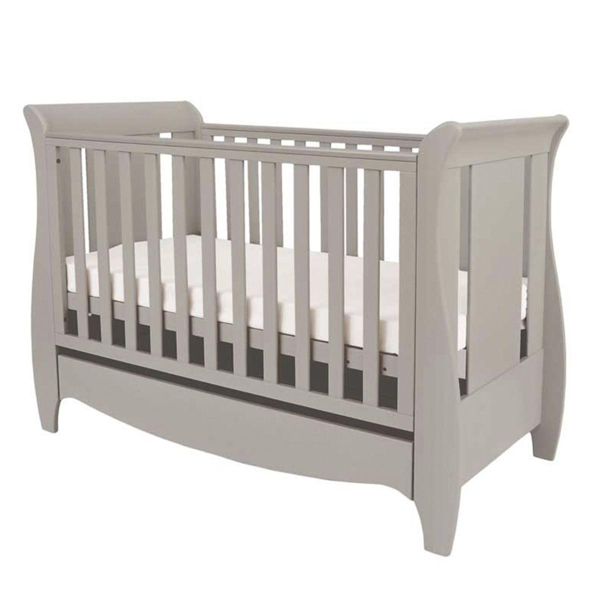Tutti Bambini Roma Mini Sleigh Cot Bed with Drawer – Truffle Grey