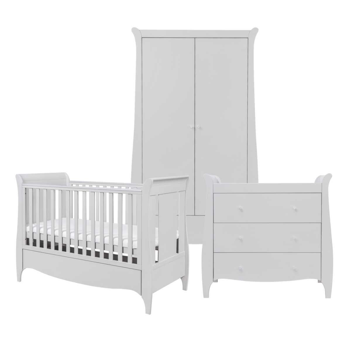 Tutti Bambini Roma 3 Piece Cot, Chest Changer and Wardrobe Room Set - Dove Grey