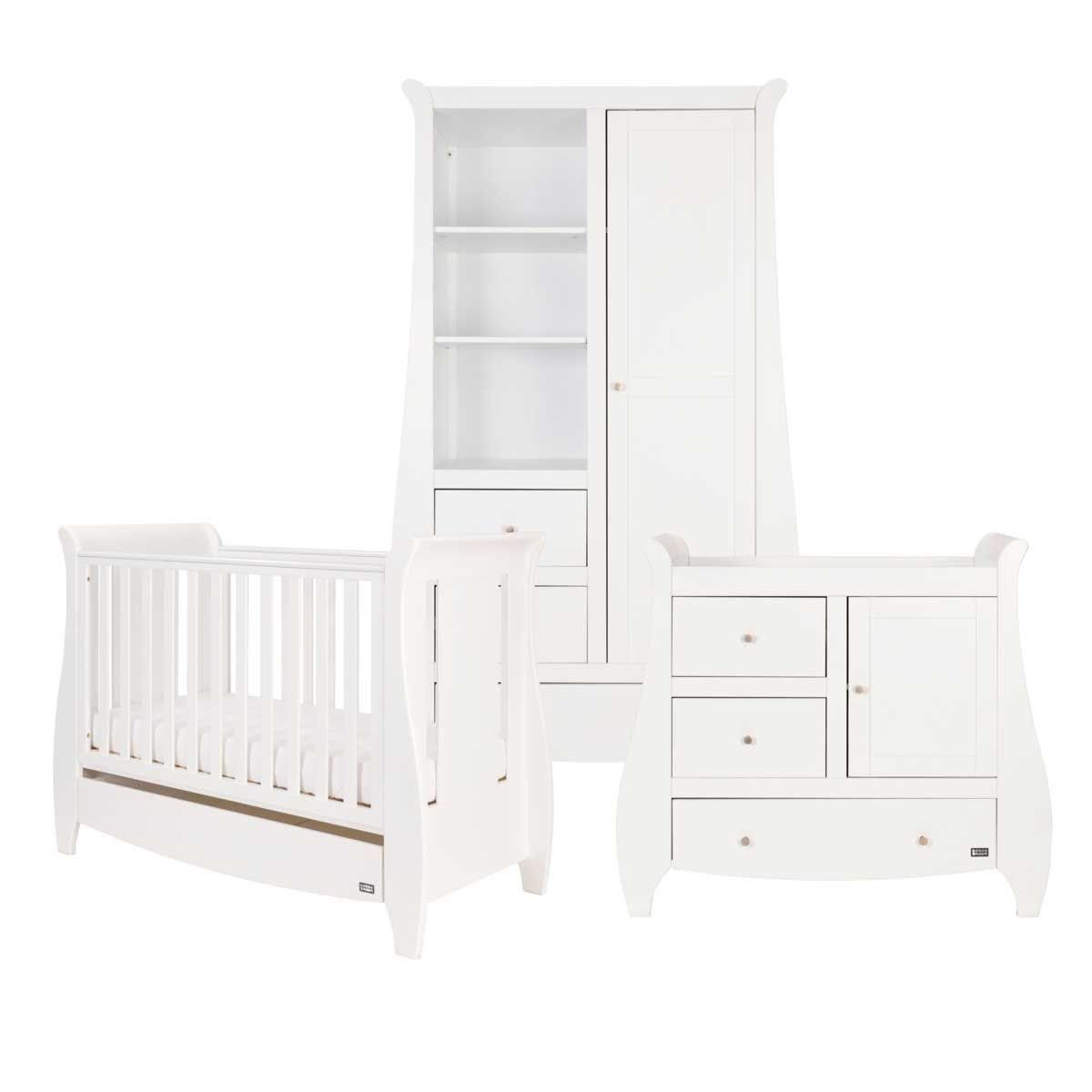 Tutti Bambini Lucas 3 Piece Cot Bed, Chest Changer and Wardrobe Room Set - White