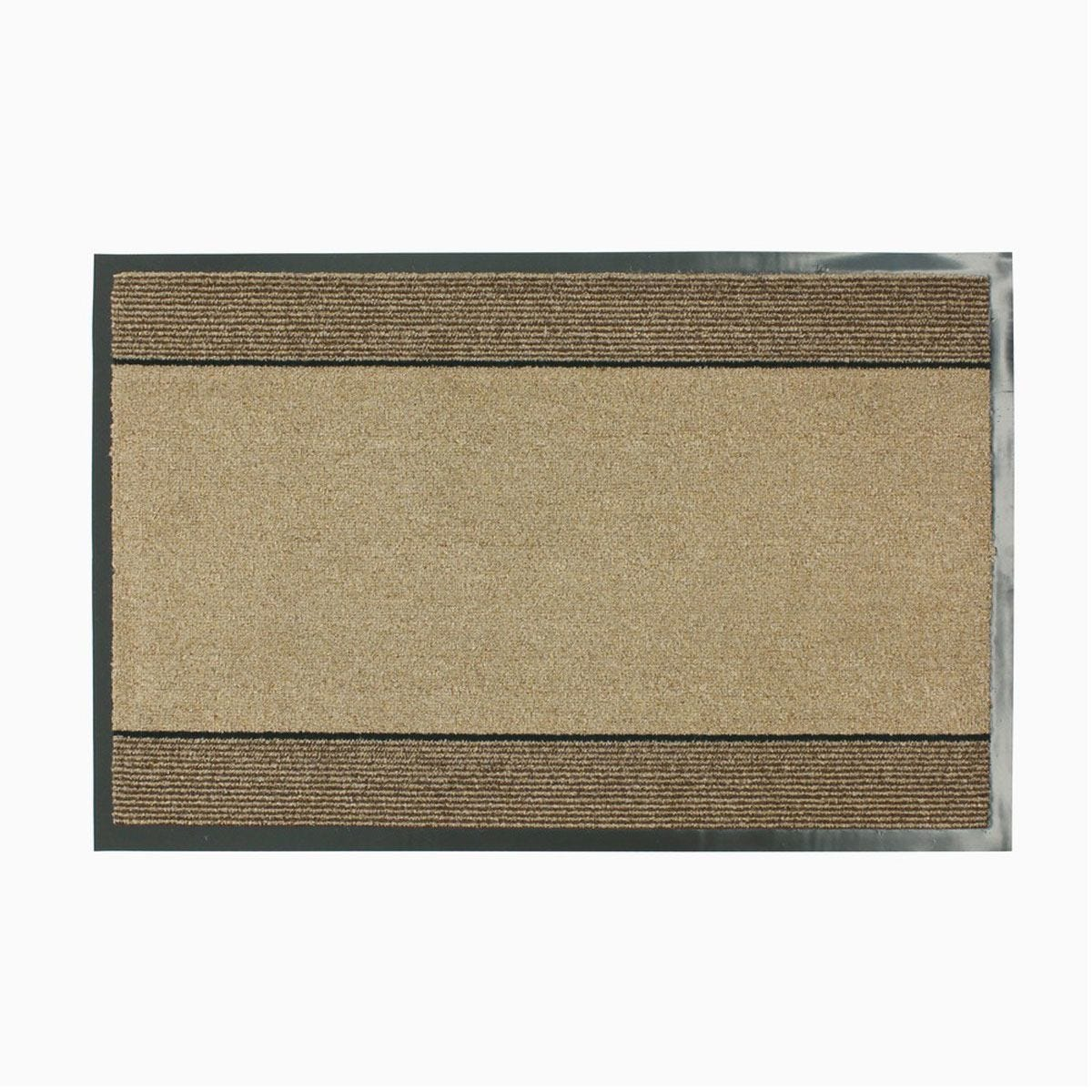 JVL Miracle Barrier 40 x 60cm Striped Door Mat - Beige/Brown