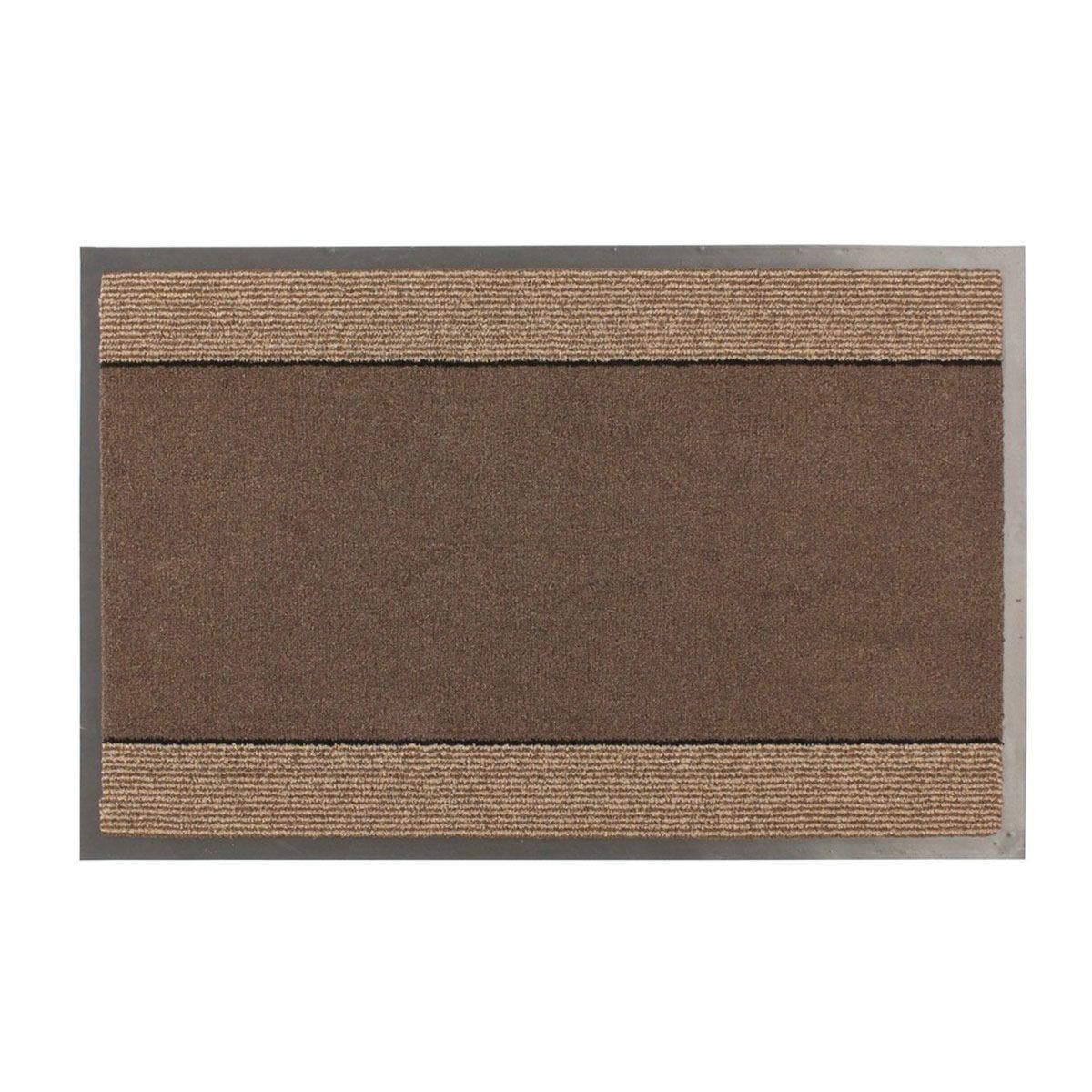JVL Miracle Barrier 40 x 60cm Striped Door Mat - Brown/Beige