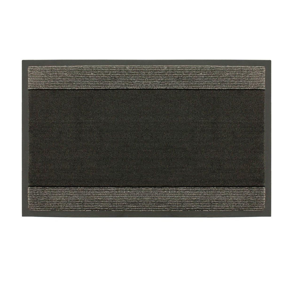 JVL Miracle Barrier 40 x 60cm Striped Door Mat - Black/Grey