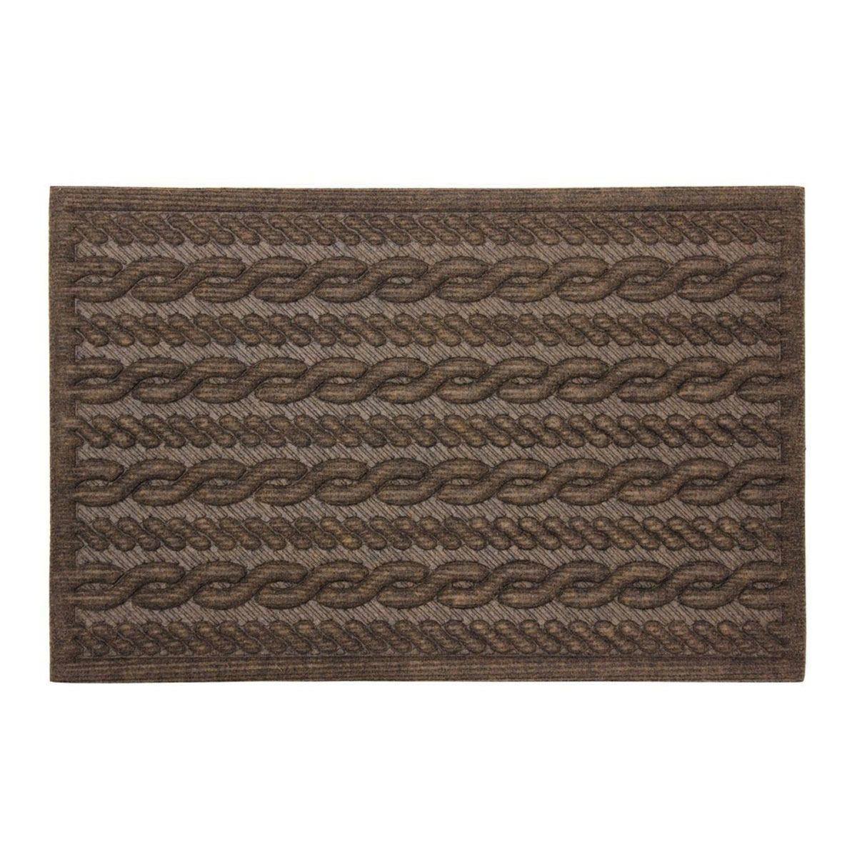 JVL Knit Design Scraper 40 x 60cm Brown Door Mat - Cable
