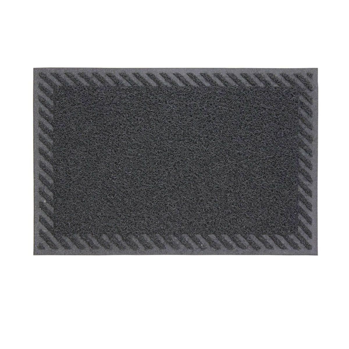 JVL Mud Grabber PVC Spaghetti 40 x 60cm Striped Door Mat - Grey