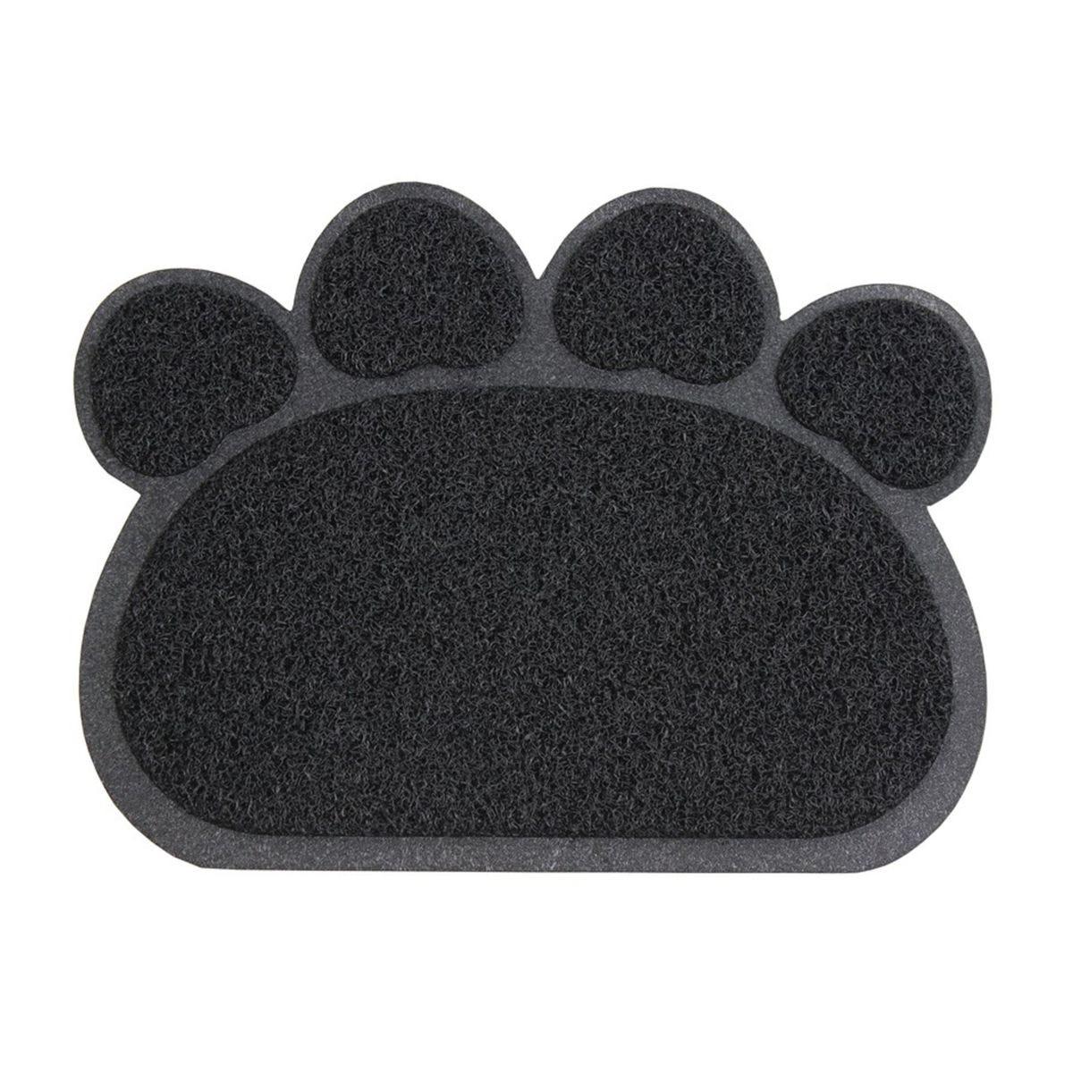 JVL 45x60cm Paw Shaped Mud Grabber Doormat - Black