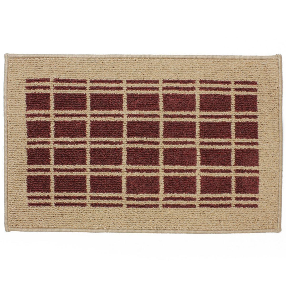 JVL 50 x 80cm Treviso Latex Backed Door Mat - Beige/Red