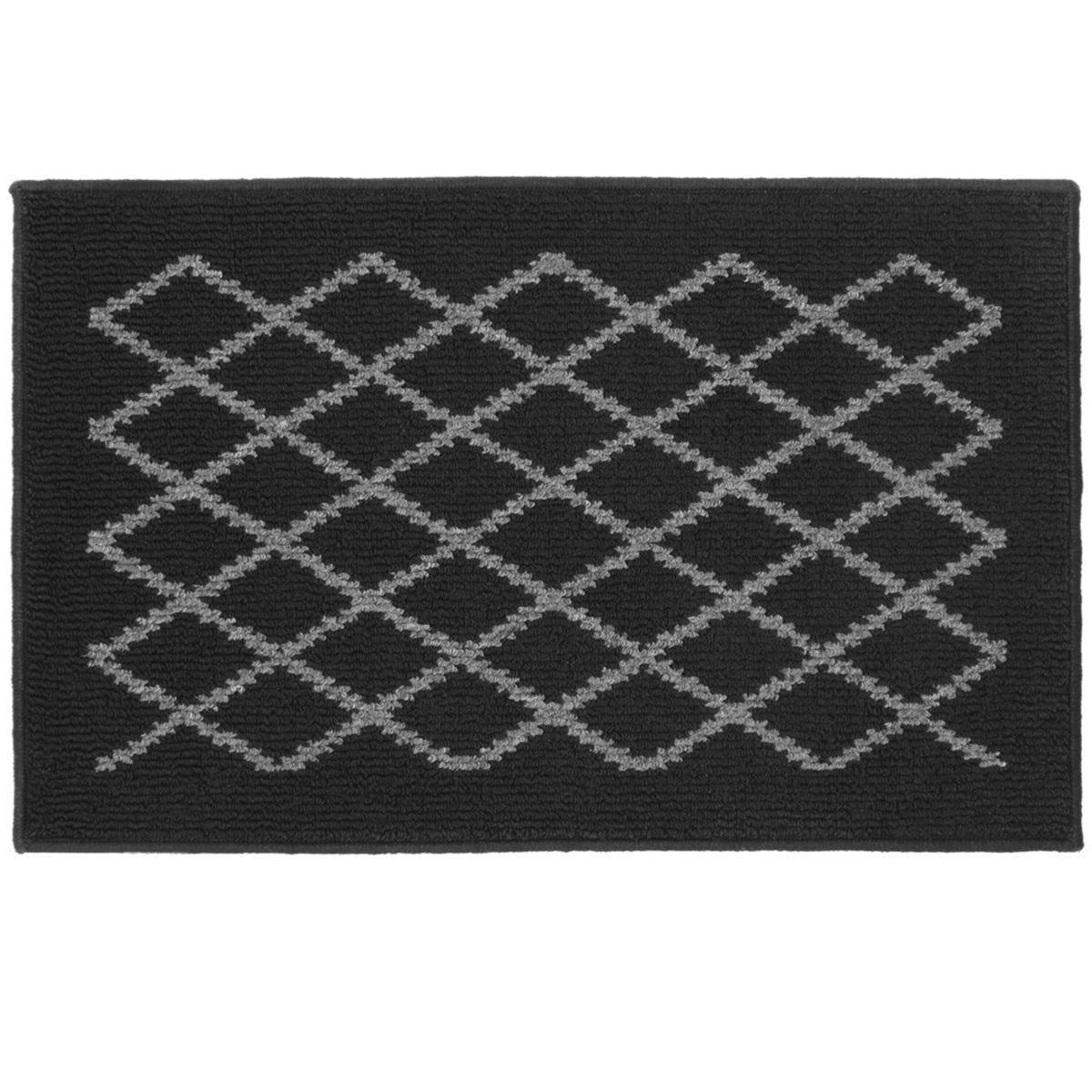 JVL 50x80cm Bergamo Doormat - Black/Grey