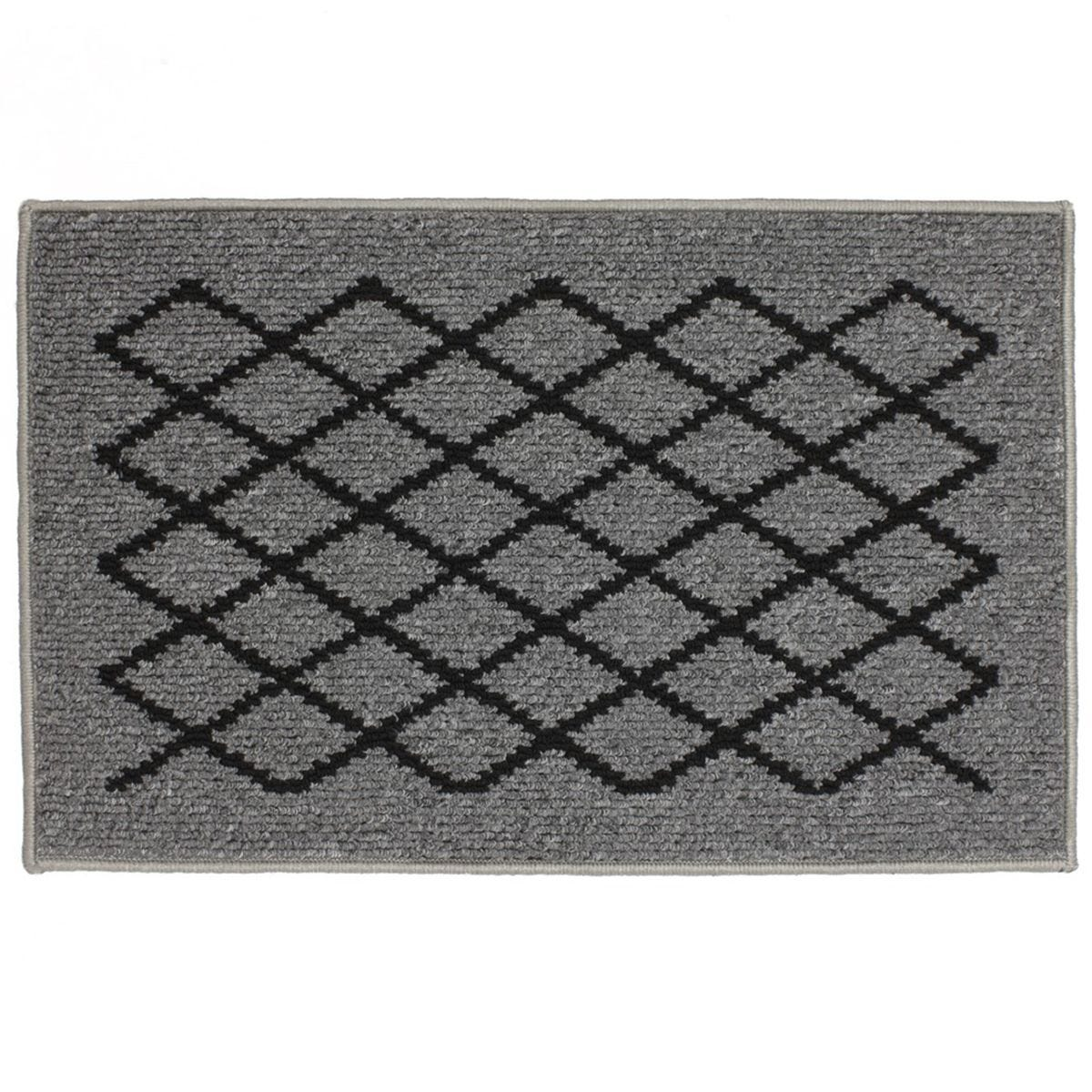 JVL 50x80cm Bergamo Doormat - Grey/Black