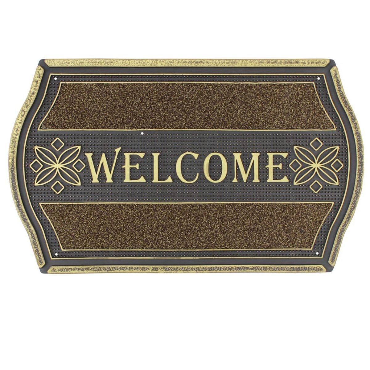 JVL 45x75cm Floral Look PVC Welcome Doormat - Gold/Black