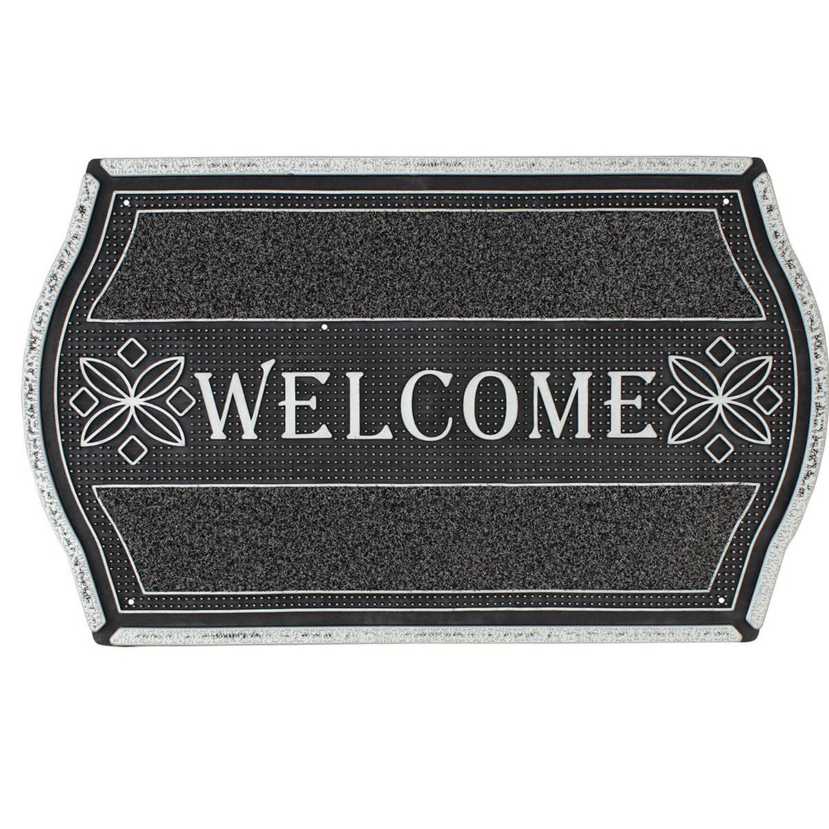 JVL 45x75cm Floral Look PVC Welcome Doormat - Silver/Black