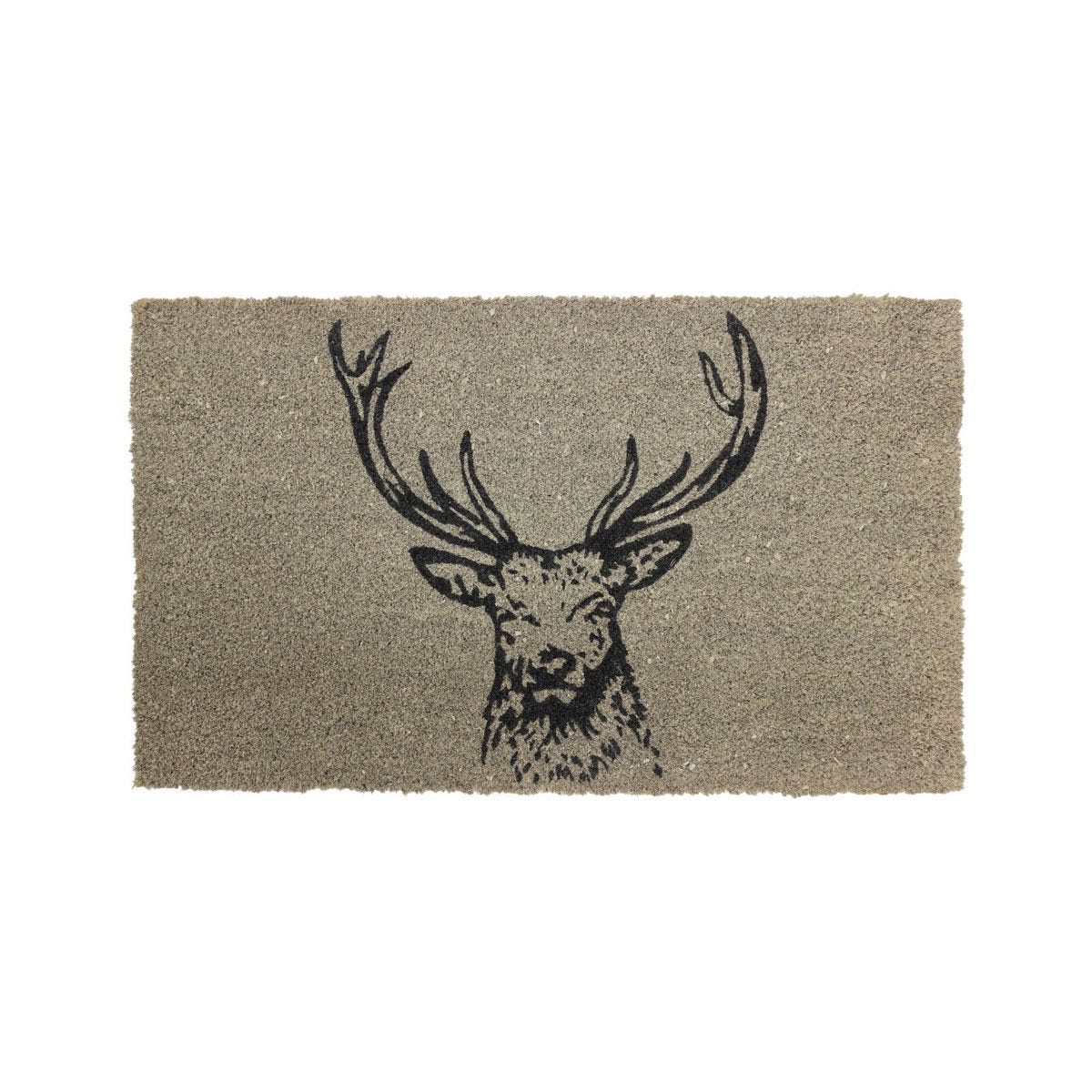 JVL Neutral 45 x 75cm Latex Backed Coir Entrance Door Mat - Stag