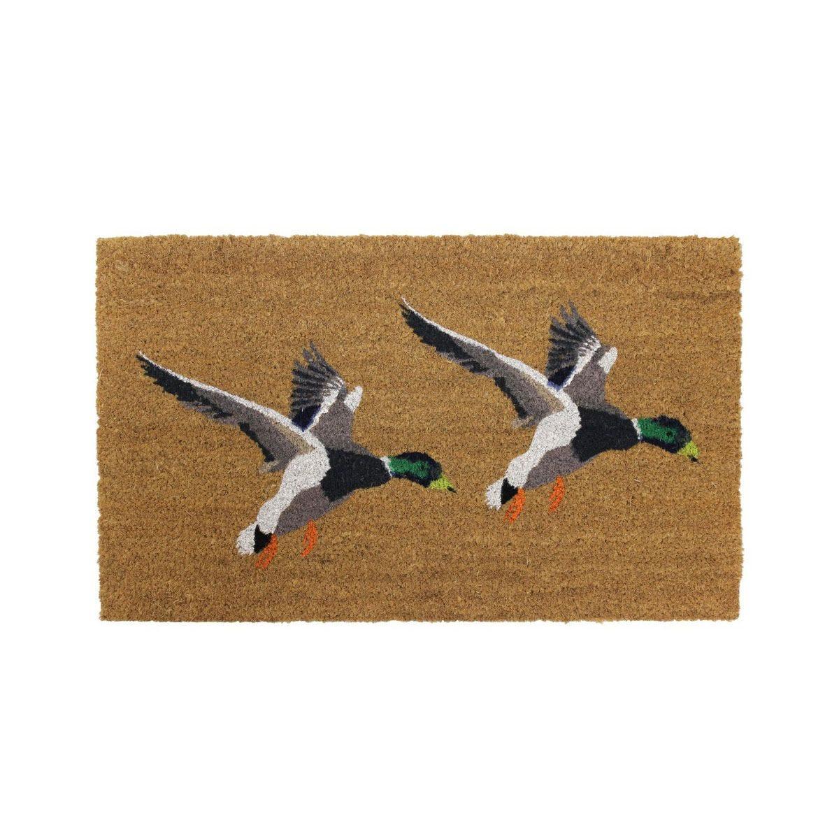 JVL Country 45 x 75cm Latex Backed Coir Entrance Door Mat - Ducks