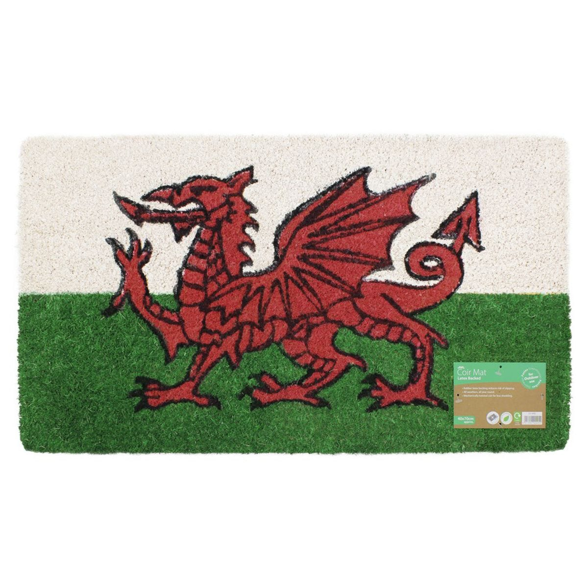 JVL 'Cymru Welsh Dragon' Entrance Door Mat - 40x70
