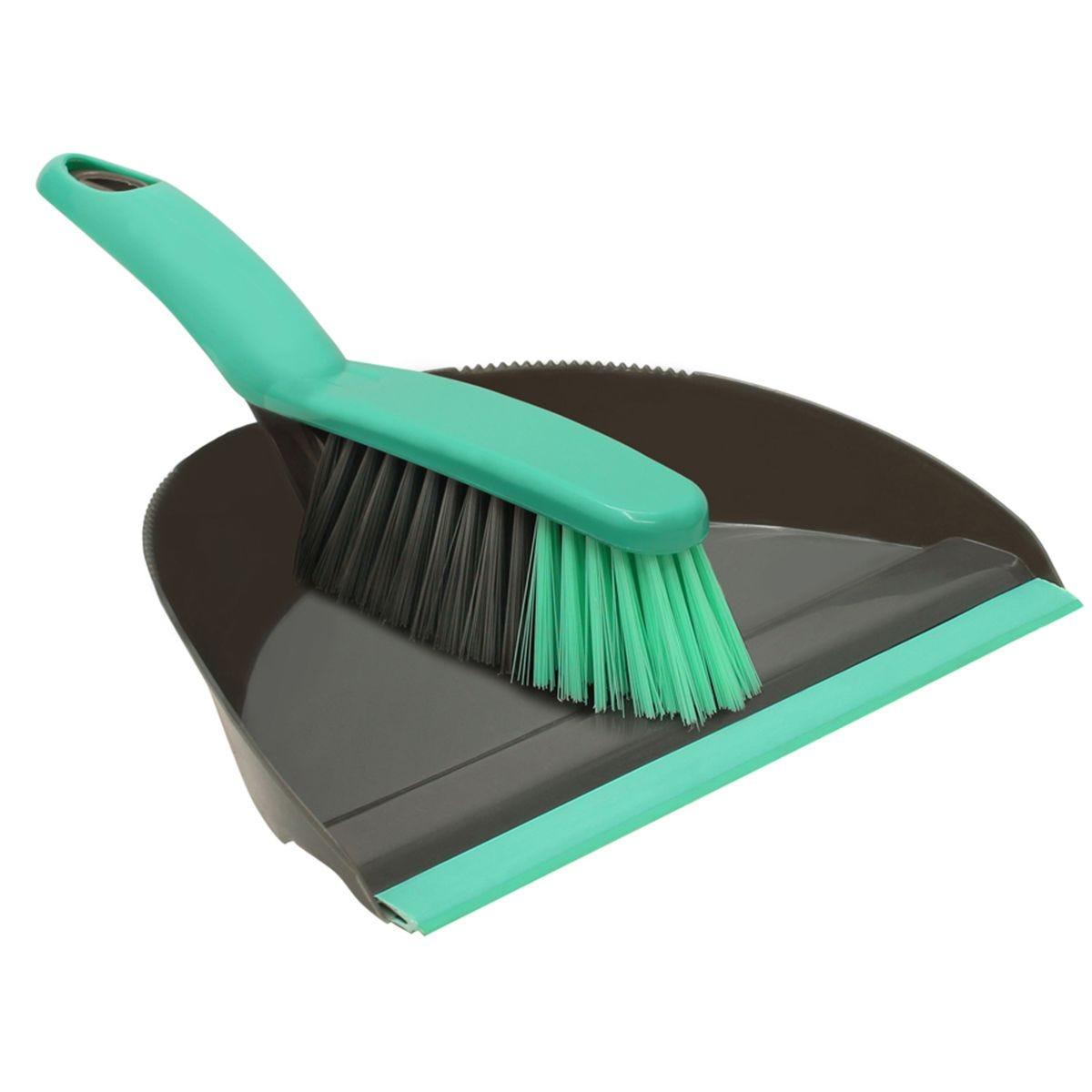 JVL Dustpan and Bristle Brush Set Grey/Turquoise