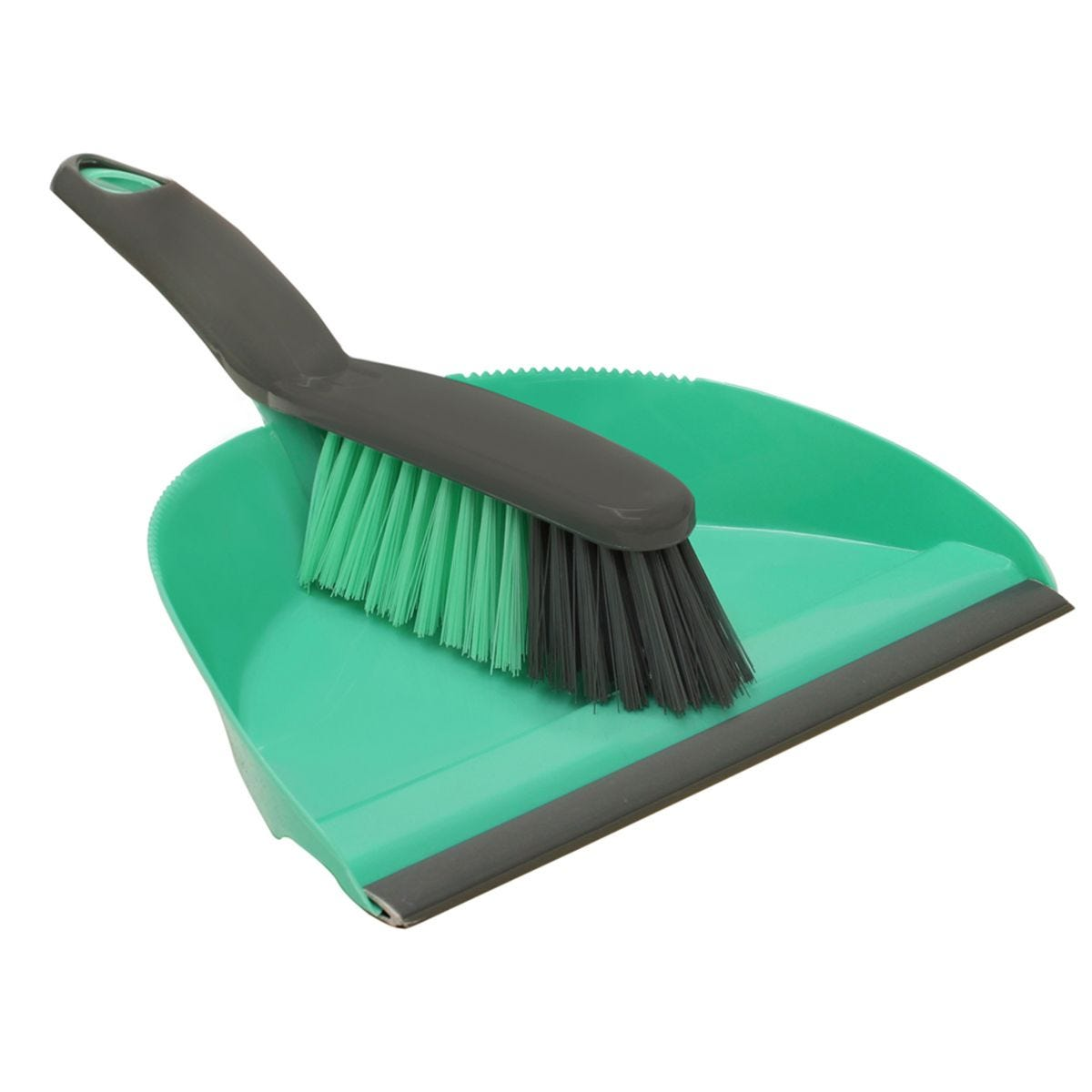 JVL Dustpan and Bristle Brush Set Turquoise/Grey