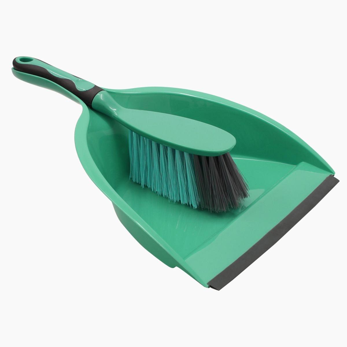 JVL Rubber Grip Dustpan and Bristle Brush Set Turquoise/Grey