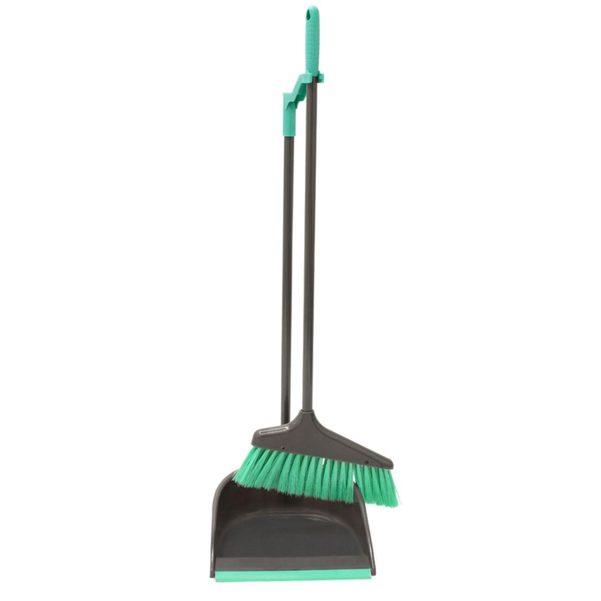 JVL Long Handle Dustpan and Bristle Brush Set Grey/Turquoise