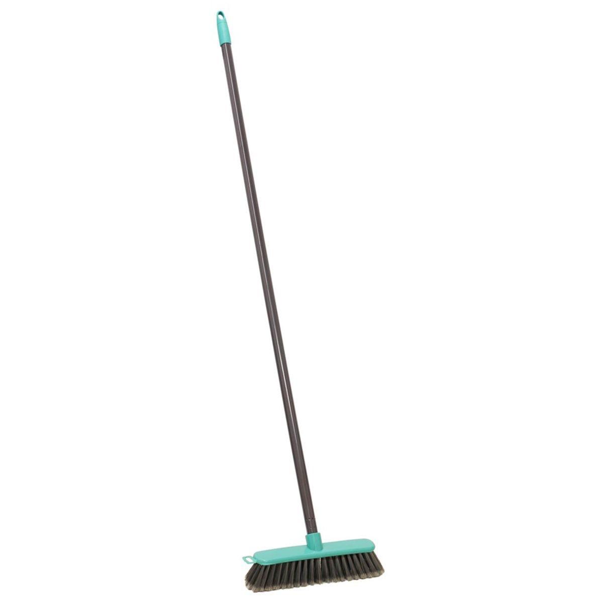 JVL Lightweight Indoor Angled Soft Bristle Sweeping Brush Broom Grey/Turquoise