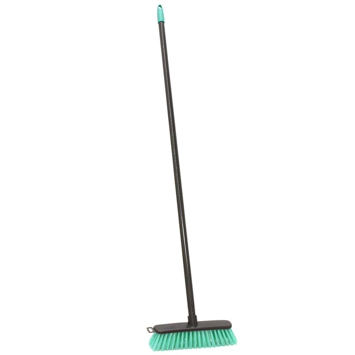 JVL Lightweight Outdoor Hard Bristle Sweeping Brush Broom Turquoise/Grey
