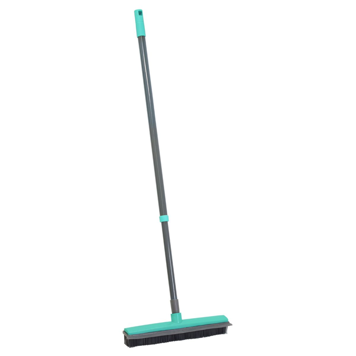 JVL Indoor Extendable Rubber Bristle Brush Broom with Squeegee Grey/Turquoise