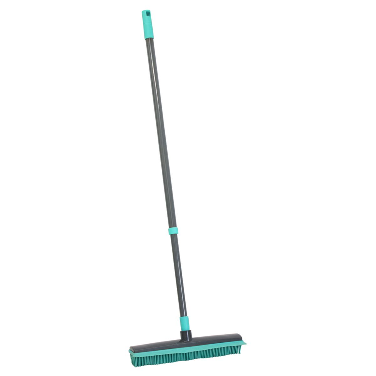 JVL Indoor Extendable Rubber Bristle Brush Broom with Squeegee Turquoise/Grey