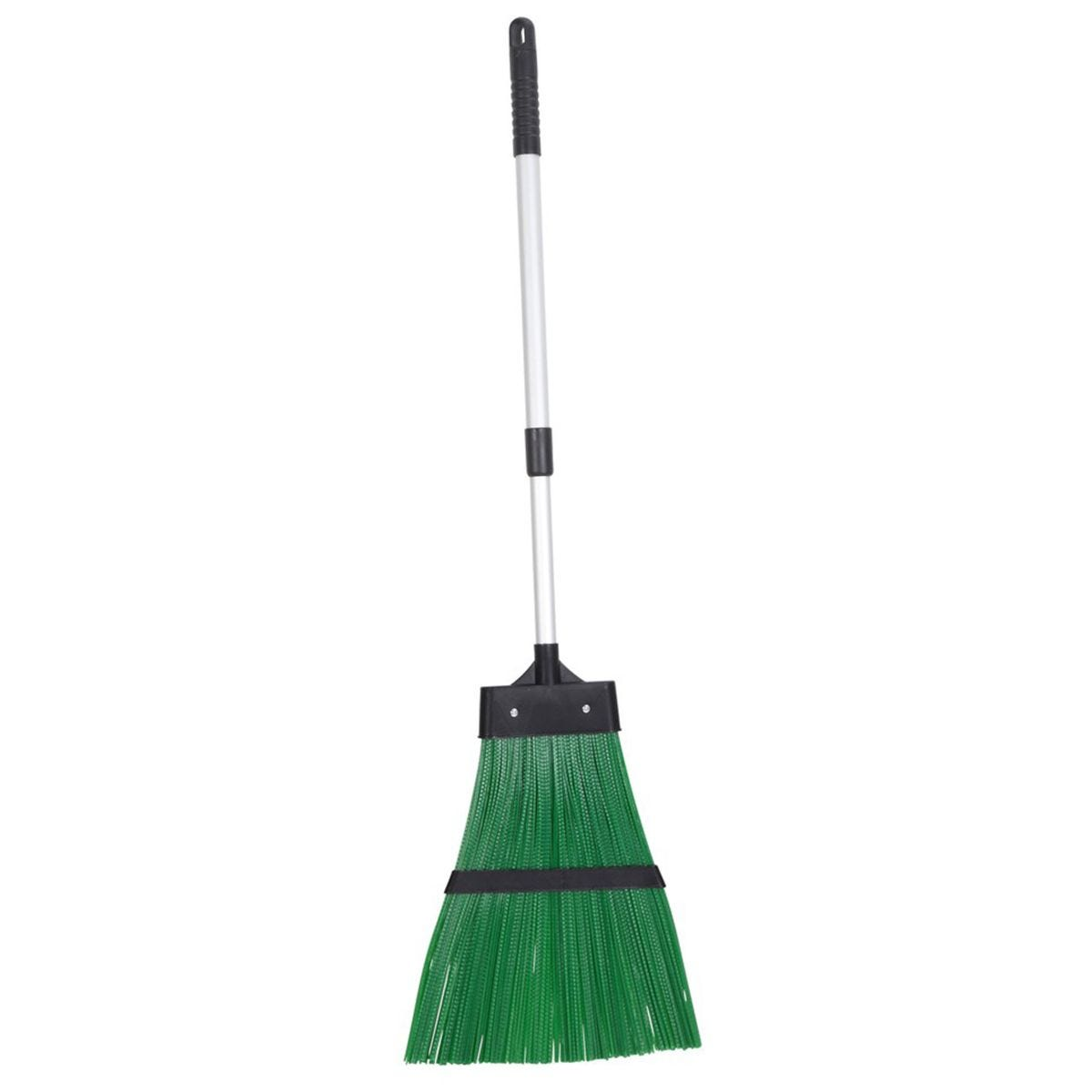 JVL Outdoor Garden Hard Bristled Broom Brush Rake with Extendable Handle Green