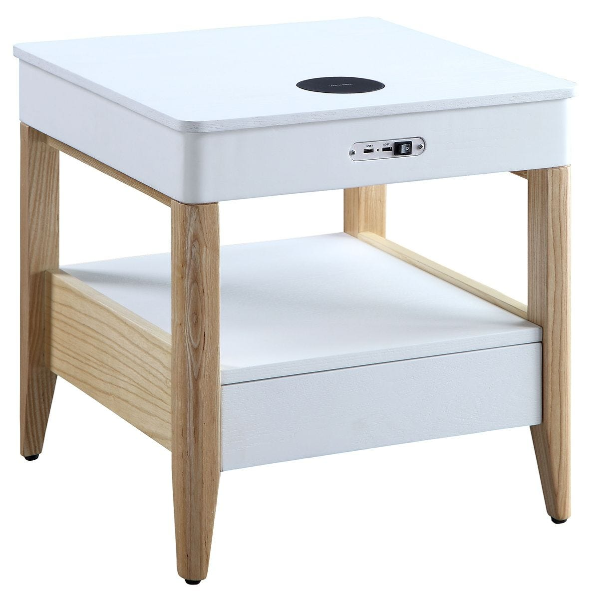 Jual San Francisco Ash/White Smart Bedside Table - Wireless Charger & Speaker