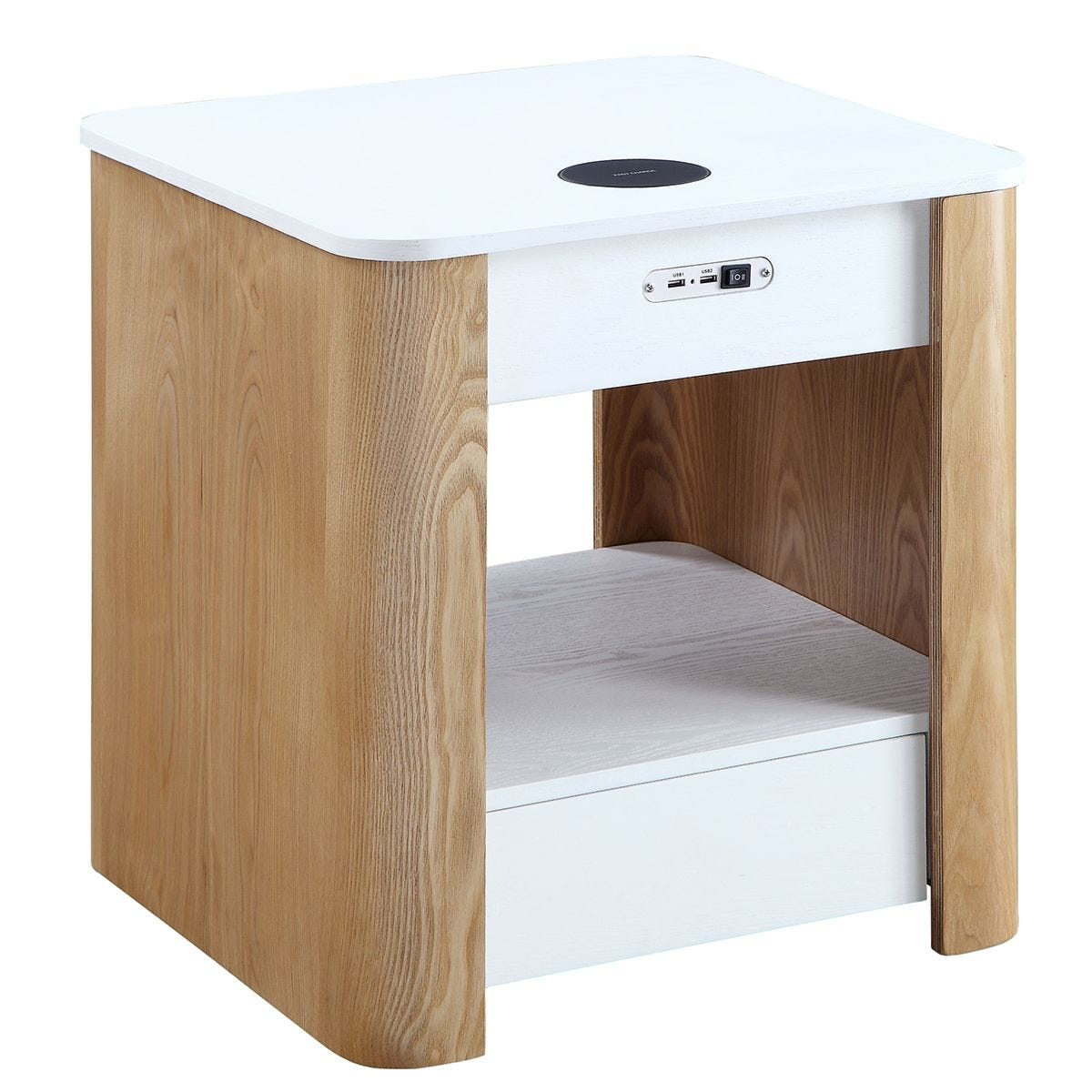 Jual San Francisco Ash/White Smart Bedside Table White Top & Curved Ash Sides