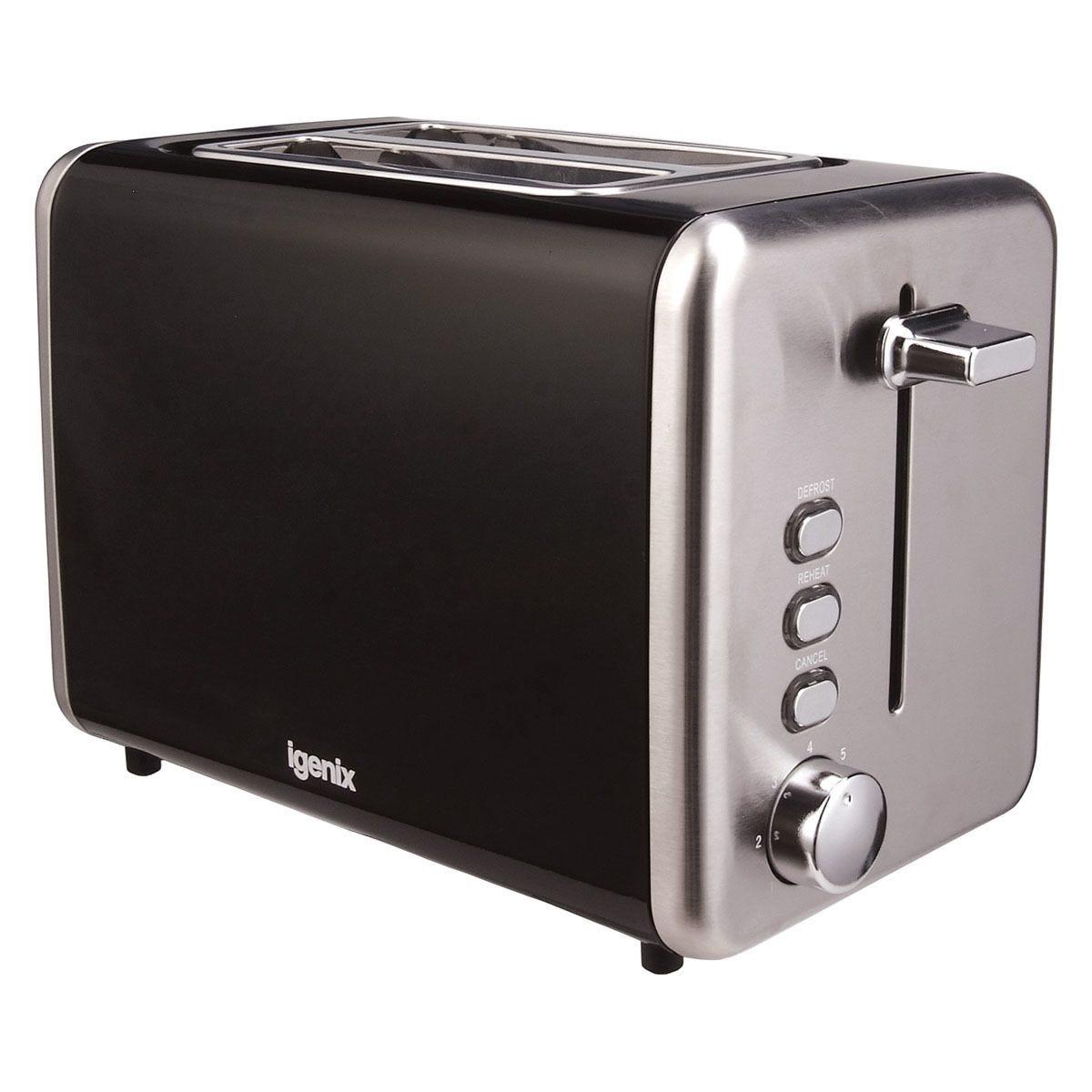 Igenix IG3000B 2-Slice Stainless Steel Toaster - Black