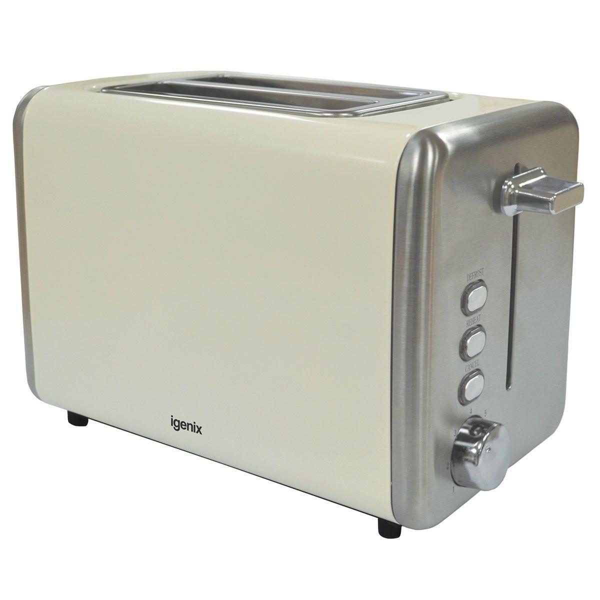 Igenix IG3000C 2–Slice Deep Slot 850W Stainless Steel Toaster – Cream