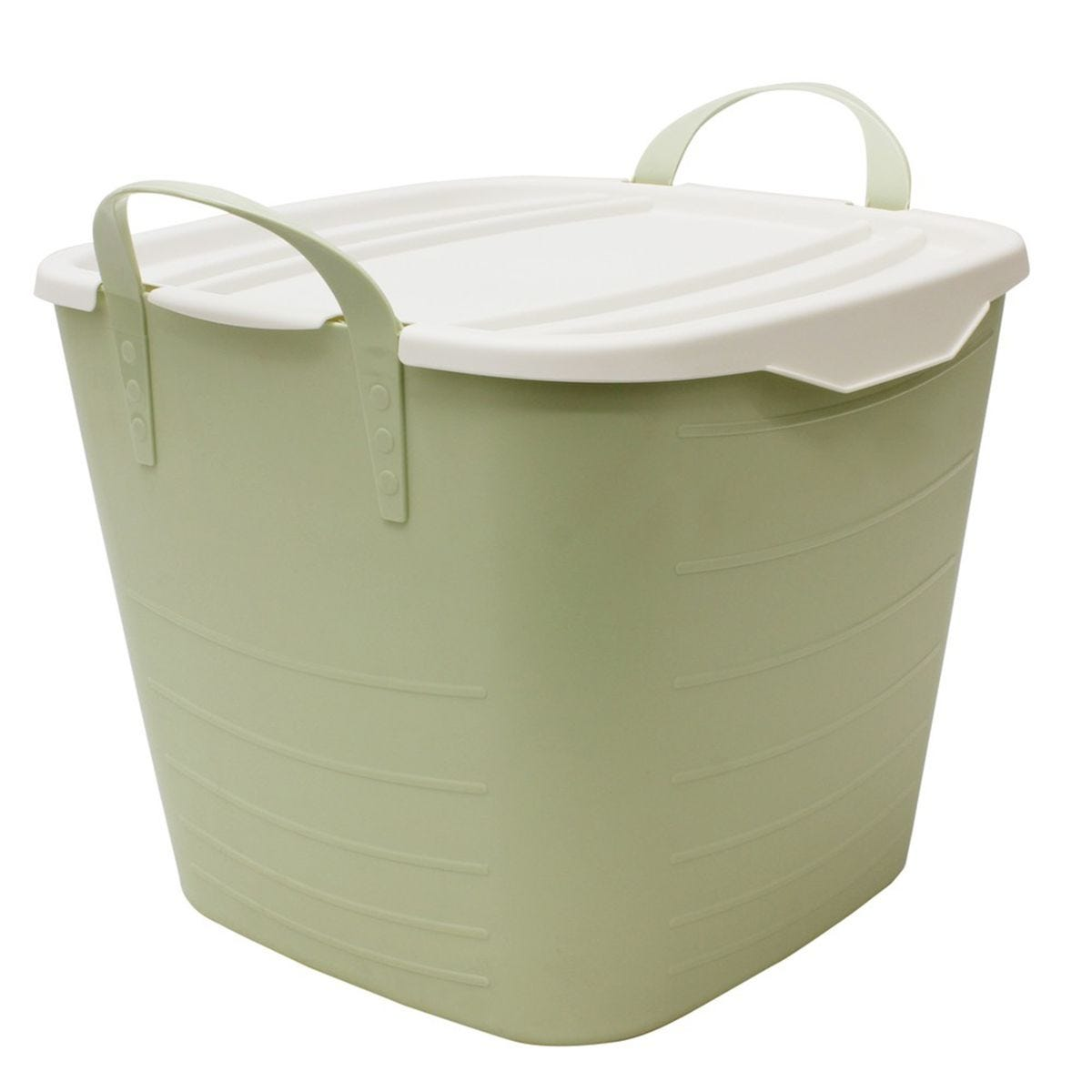 JVL Funktional Large 35 Litre Plastic Storage Container with Lid Green 49 x 44 x H41cm
