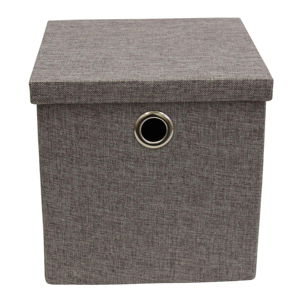 JVL Foldable Storage Box With Chrome Handles - Dark Grey