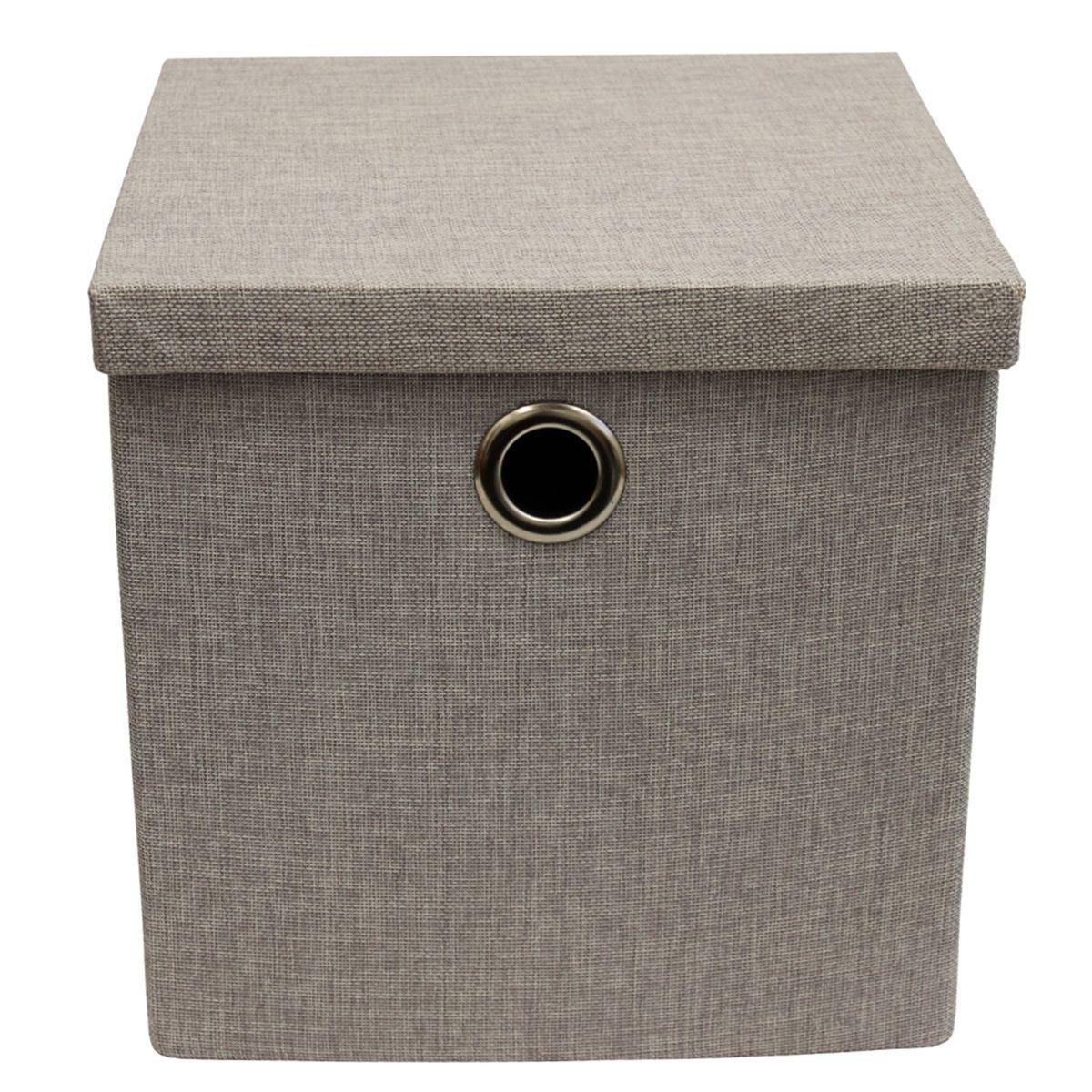 JVL Foldable Storage Box With Chrome Handles - Light Grey