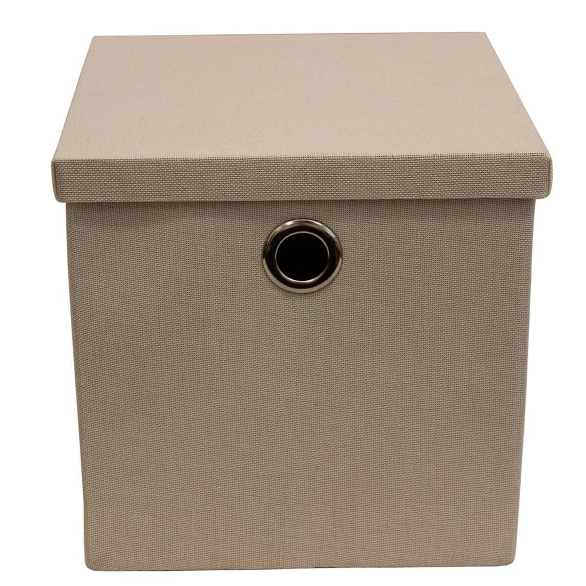 JVL Foldable Storage Box With Chrome Handles - Cream