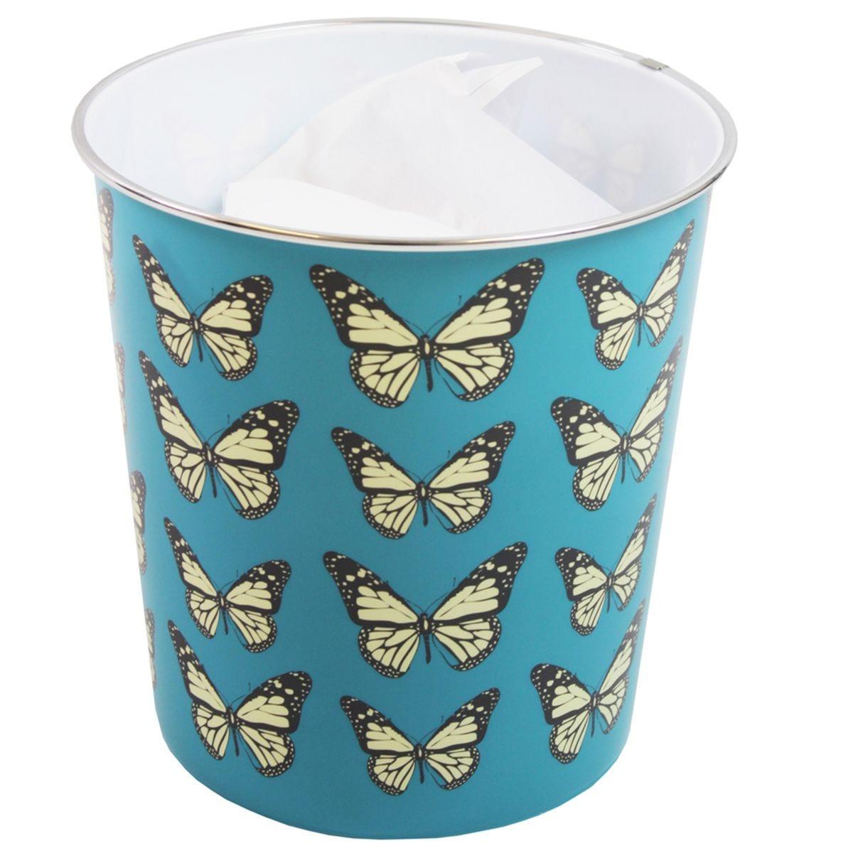 JVL Novelty Plastic Butterfly Waste Paper Bin Blue 25 x 26.5 cm