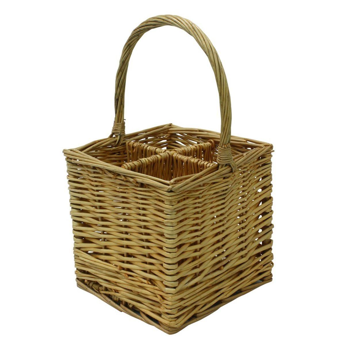 JVL Four Bottle Steamed Willow Wicker Wine Drinks Gift Basket Holder Carrier 25 x 25 x 44 cm