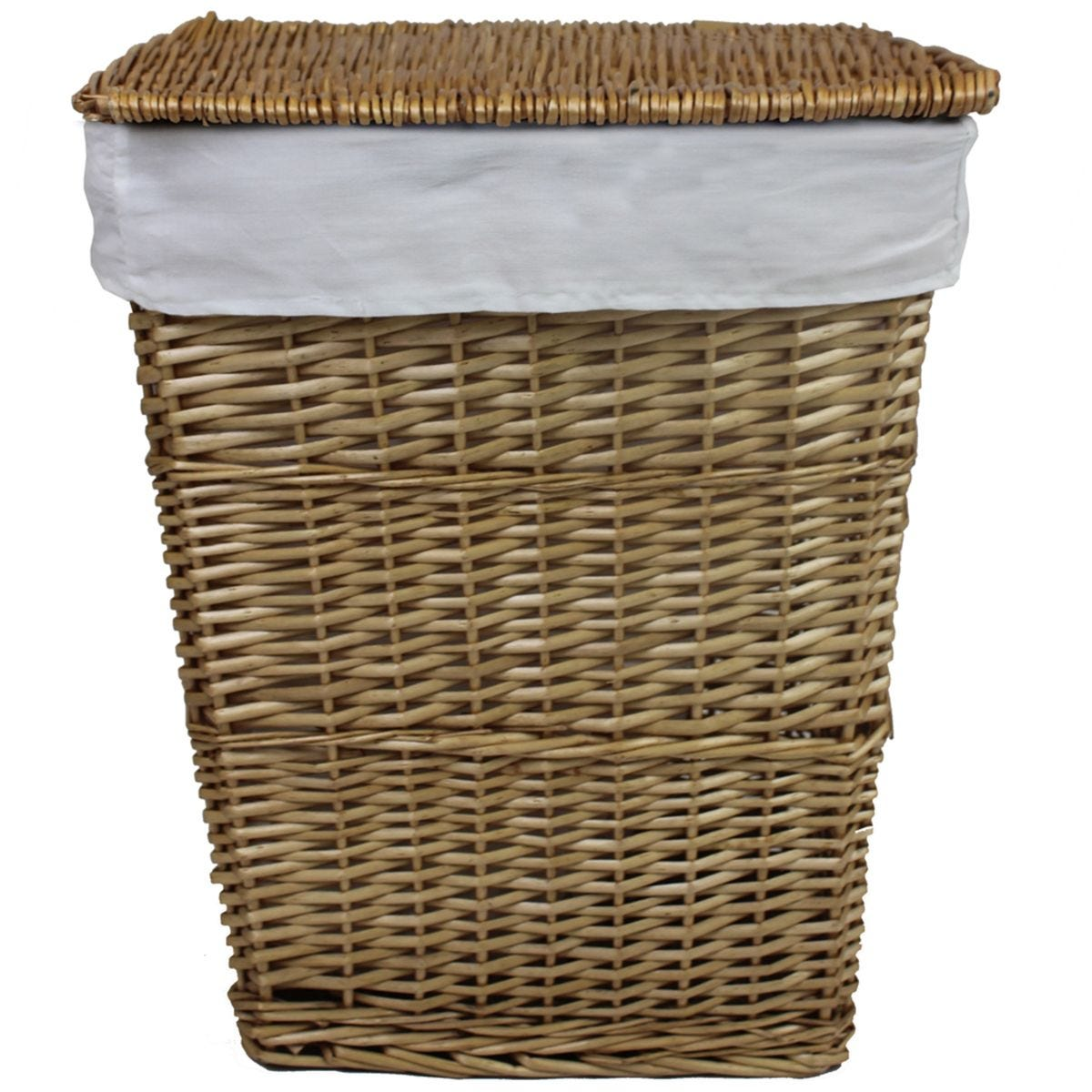 JVL Classic Honey Tapered Willow Wicker Lined Washing Linen Laundry Basket 57 x 45 x 32 cm