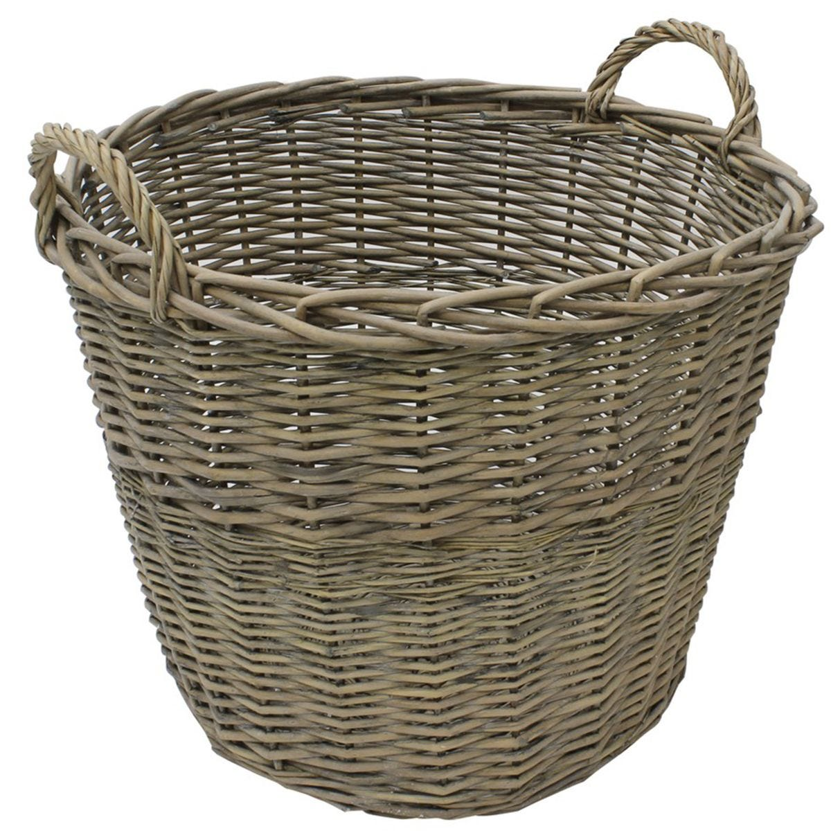 JVL Chunky Willow Round Laundry Storage Basket with Handles Natural 50 x 50 x H40cm