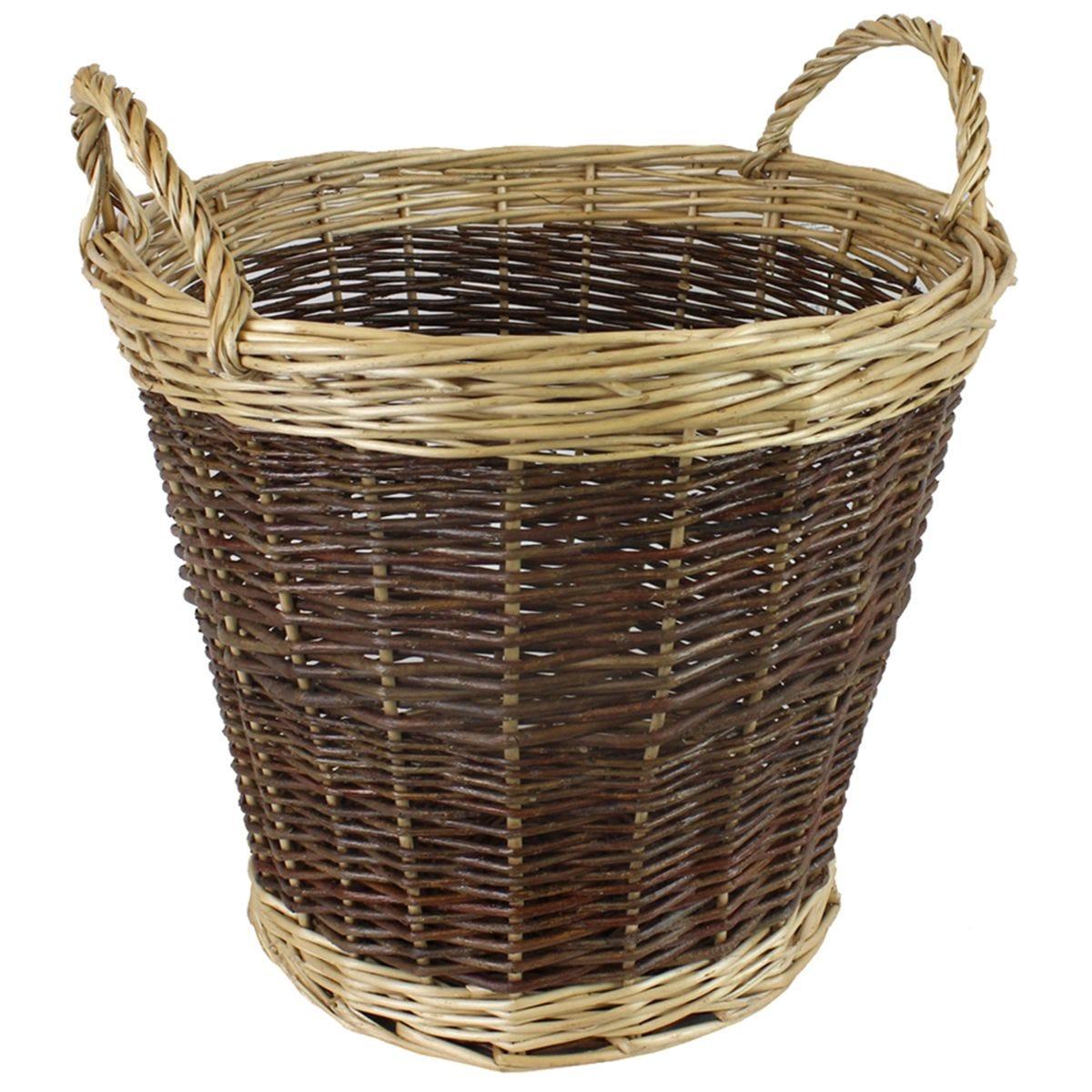 JVL Two Tone Willow Log Basket 60 x 50 cm