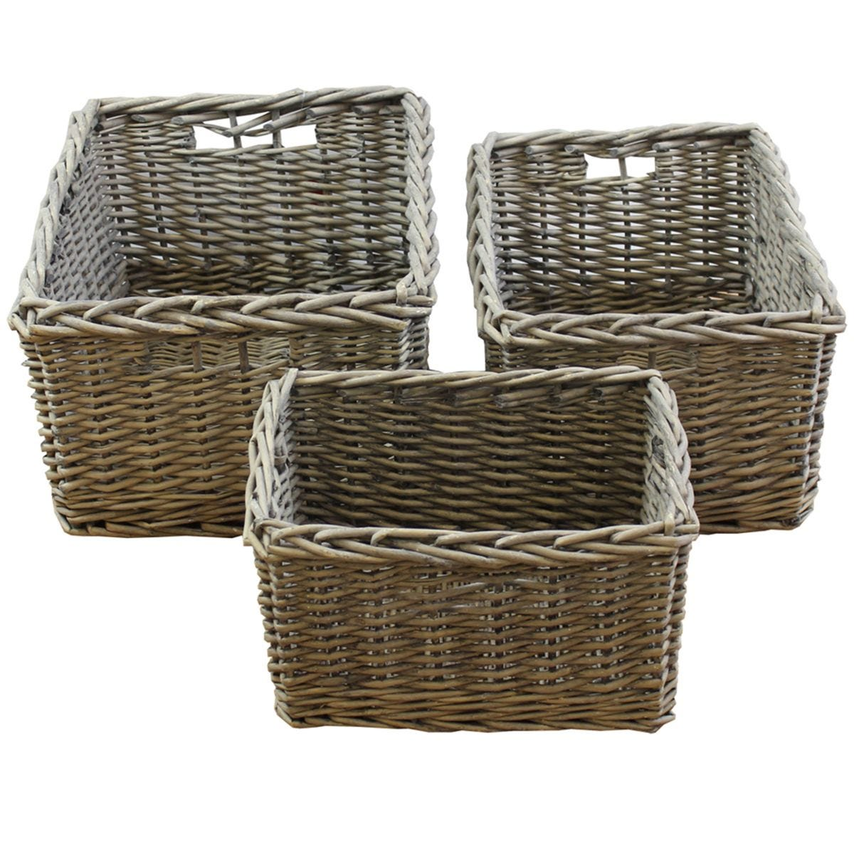 JVL Chunky Willow Rectangular Set of 3 Storage Baskets with Handles Home Kitchen
