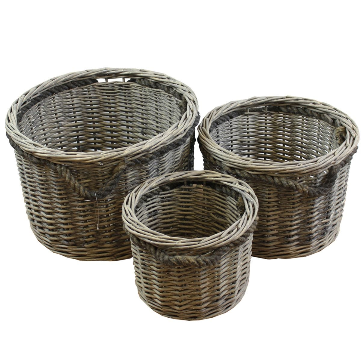 JVL Chunky Home Round Storage Baskets with Loop Handles Wood Natural Set of 3